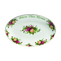 Royal Albert Old Country Roses Bless This Home Platter, 12-Inch by Royal Albert