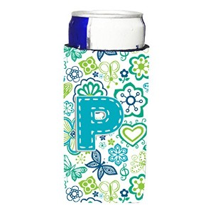 文字P花と蝶Teal Blue Ultra Beverage Insulators forスリム缶cj2006-pmuk