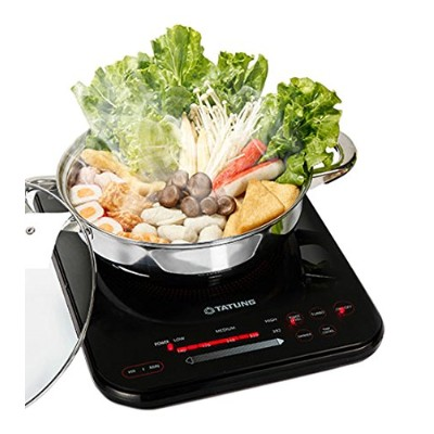 Tatung TIH-F1500SU 1500W Induction Cooktop with Stainless Steel Pot, Black by Tatung