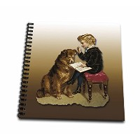 BLN Victorian、ペット動物コレクション – Little Boyの椅子に座っているReading to a Big Furry犬 – Drawing Book 8x8 drawing...