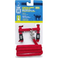 Catit Nylon Adjustable Cat Harness and Leash Set, Medium, Red by Catit