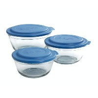 Anchor Hocking 6-Piece Mixing Bowl Set with Blue Lids by Anchor Hocking