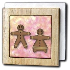 Patricia Sanders Creations – Gingerbread Man And Woman Cookie Friends love- hearts-アート – タイルナプキンホルダー...