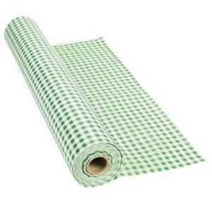 100' X 40 Green Gingham Tablecloth Roll - Party Tableware & Table Covers by Fun Express