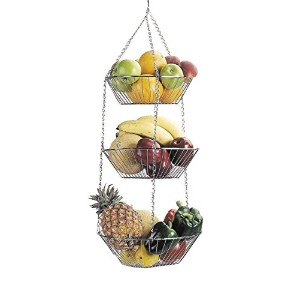Chrome Plated 3 Tier Hanging Vegetable Fruit Basket