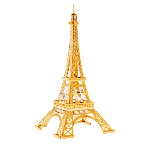 Eiffel Tower 24k Gold Plated Figurine with Swarovski Crystals by Crystal Temptations