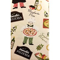 "Pizzeria Pictorial Flannel Backedビニールテーブルクロス 52"" x 52"" Square"