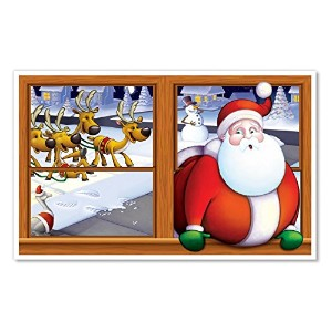 Beistle 1-Pack Santa Insta View Sheet for Party Decorations, 3-Feet 2-Inch by 5-Feet 2-Inch [並行輸入品]