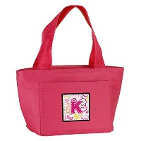 Caroline's Treasures CJ2005-KPK-8808 Letter K Flowers and Butterflies Pink Insulated Lunch Bag,...